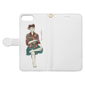 【バリの人々】おじいちゃん Book-style smartphone case