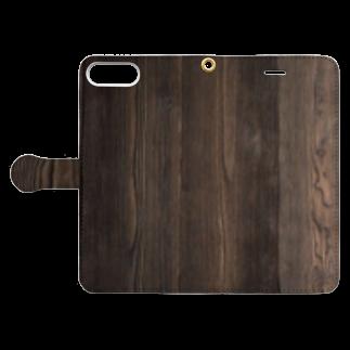 Loopの木目/焼杉 Book-style smartphone caseを開いた場合(外側)