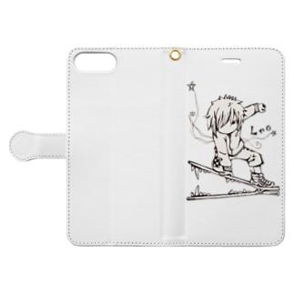 エンピツの星のアクセな12星座 獅子座 Book-style smartphone caseを開いた場合(外側)