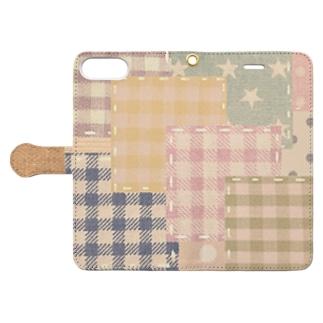 パッチワーク風♡(レトロ) Book-style smartphone case