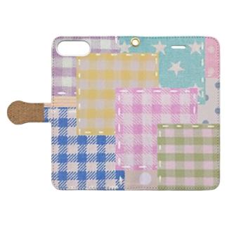 パッチワーク風♡(カラフル♪) Book-style smartphone case