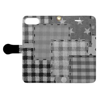 パッチワーク風♡(ブラック) Book-style smartphone case