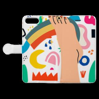 SANKAKU DESIGN STOREの真っ逆さまに転落。 Book-style smartphone caseを開いた場合(外側)