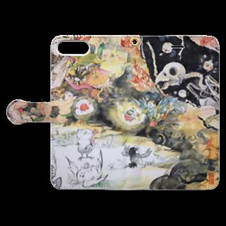 にしごりみずほの鳥鳥百鬼夜行 Book-style smartphone caseを開いた場合(外側)