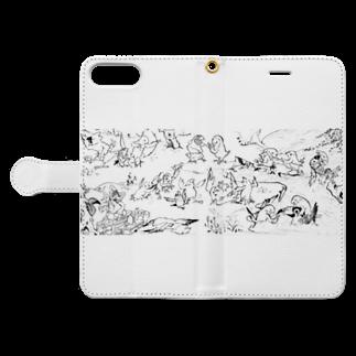 にしごりみずほの鳥鳥戯画 Book-style smartphone caseを開いた場合(外側)