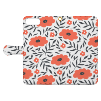 SANKAKU DESIGN STOREの平たい北欧フラワーmini。 Book-style smartphone caseを開いた場合(外側)
