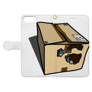 ダンボールの中のギン Book-style smartphone case