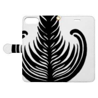 【ラテアート】ブラックシングルリーフ Book-style smartphone case
