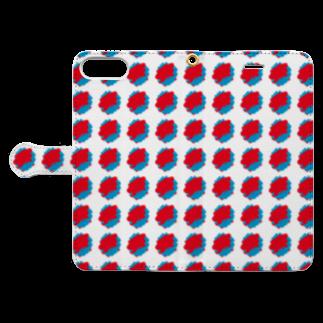 SANKAKU DESIGN STOREの赤青/青赤 ブラシ水玉模様。C Book-style smartphone caseを開いた場合(外側)