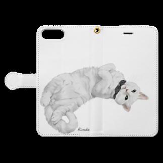 kinako-japanの白猫ソイルちゃん Book-style smartphone caseを開いた場合(外側)