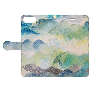 peonicの山に雨 Book-style smartphone caseを開いた場合(外側)