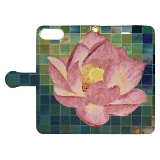 モザイク画★蓮の花 Book-style smartphone case