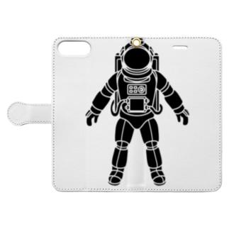 夢見る宇宙服-シルエット-黒 Book style smartphone case