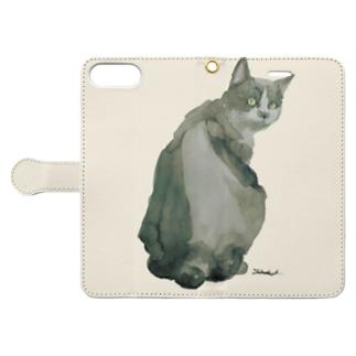 SANADATAKUMIの猫好きのための Book-style smartphone caseを開いた場合(外側)