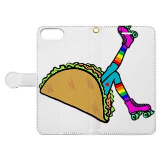 タコス ローラースケート ガール  TACOS ROLLER GIRL RAINBOW レインボー Tacos Rollerskate Rainbow Book-style smartphone case