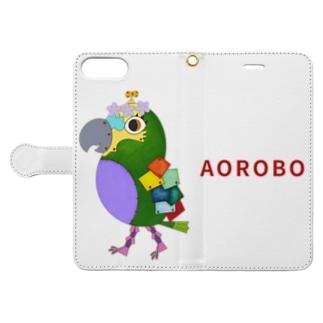 ねこぜや のROBOBO アオボウシインコ Book-style smartphone caseを開いた場合(外側)