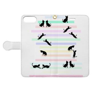 猫(ネコ)とパステルカラーの階段 Book-Style Smartphone Case