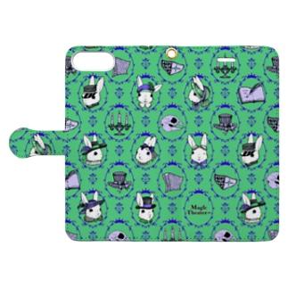 ゴシックウサギ(緑) Book-style smartphone case