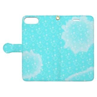 ミルクB(フルグラフィック背面微濃青) Book-style smartphone case