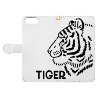 iTDQ タイガー (wwf500円寄付付き) Book-style smartphone case