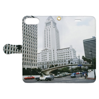 アメリカ:ロサンゼルス市庁舎とパトロールカー U.S.A.: Los Angeles City Hall Book-style smartphone case