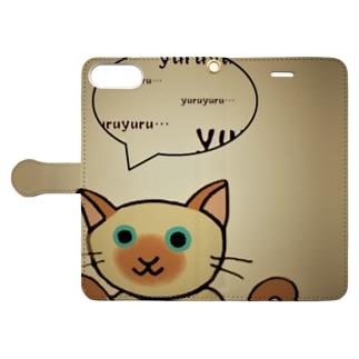 ゆる猫シャム セピア Book-style smartphone case