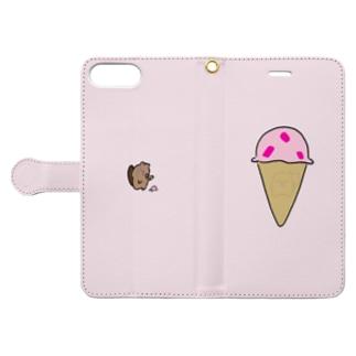 ビーバーくん ストロベリーアイス Book-style smartphone case