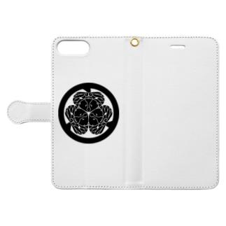 動物家紋。H.T.(三つ葉葵ハシビロコウ) Book-style smartphone case