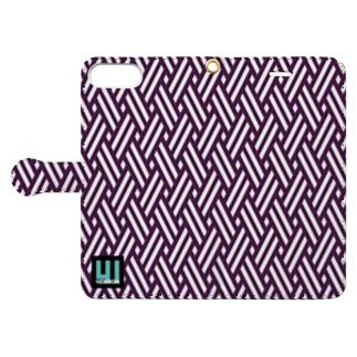 iPhone手帳型ケース和柄(籠目・紫) Book-style smartphone case