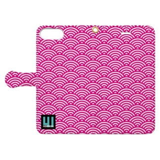iPhone手帳型ケース和柄(青海波・ピンク) Book-style smartphone case