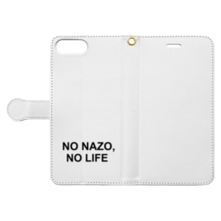 NO NAZO, NO LIFE(黒文字シンプル大) Book-style smartphone case