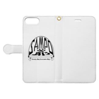 さんぽ爺鳥 黒文字 Book-style smartphone case