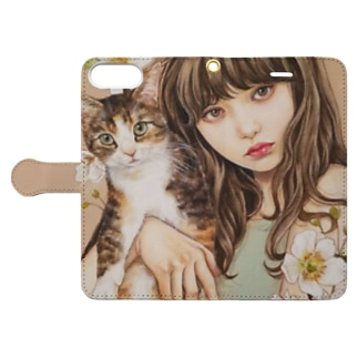 Girl and Cat Book-style smartphone case