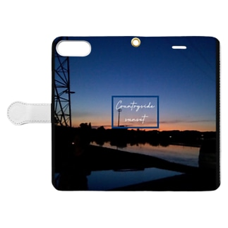 Countryside sunset 〜田舎の夕焼け〜 Book-style smartphone case