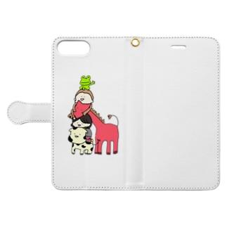 牧場のトーテムポール(背景なし) Book-style smartphone case