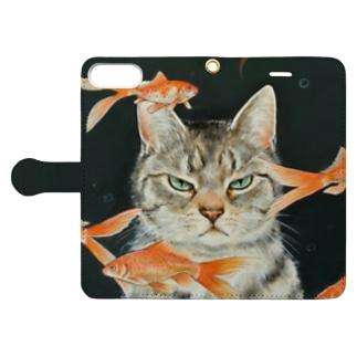 金魚と猫 Book-style smartphone case