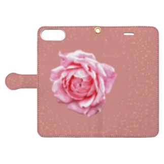 アランさんのピンクのバラ Book-style smartphone case