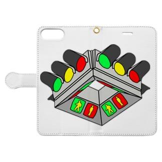 UFO型信号機 Book-style smartphone case
