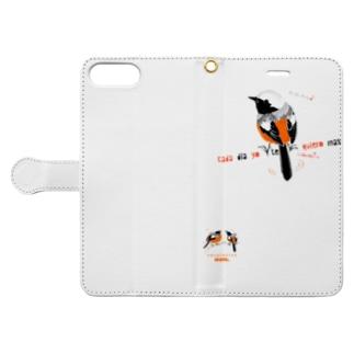 MARU ジョビとジョバ まるい小鳥 ジョウビタキ ヒタキ イラスト Book-style smartphone case