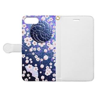 © 2008 akanbeepapaの藤巴と桜 Book-style smartphone caseを開いた場合(外側)
