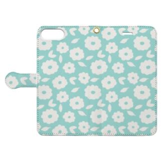 やさしくふんわか北欧のお花。 SKY/単 Book-style smartphone case