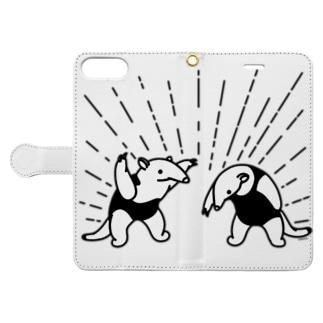 らくがきシリーズ★ありくいの威嚇 Book-style smartphone case