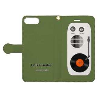 アナログレコード×モスグリーン Book-style smartphone case