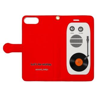 アナログレコード×レッド Book-style smartphone case