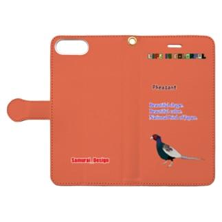 キジ×柿色 Book-style smartphone case