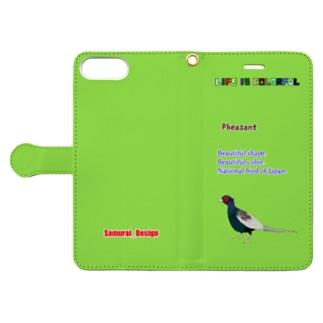 キジ×ライトグリーン Book-style smartphone case