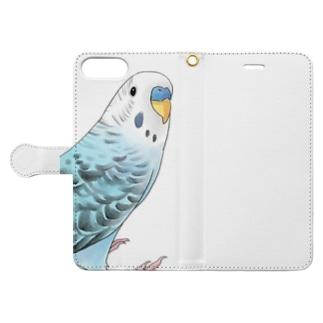 振りむきセキセイインコちゃん【まめるりはことり】 Book-style smartphone case