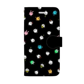 いろいろうちゅうじんチュマホケ〜スぶらっく Book-style smartphone case