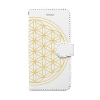 フラワーオブライフ(gold) Book-style smartphone case