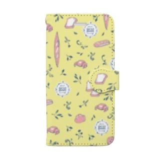 春のパン柄 〜イエロー〜 Book-style smartphone case